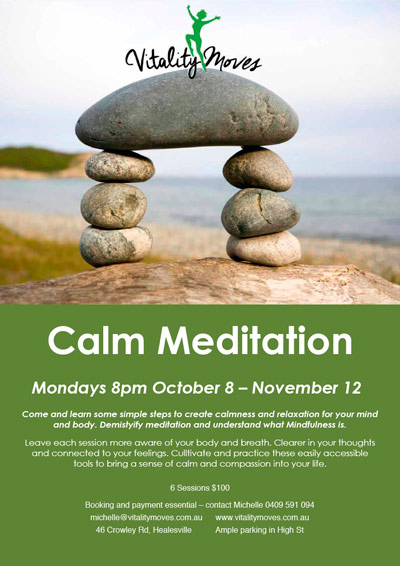 calm meditation and mindfulness workshop