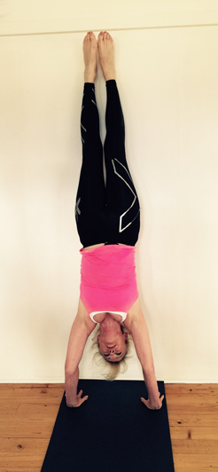 Barb celebrating her 66th birthday goal… a handstand!