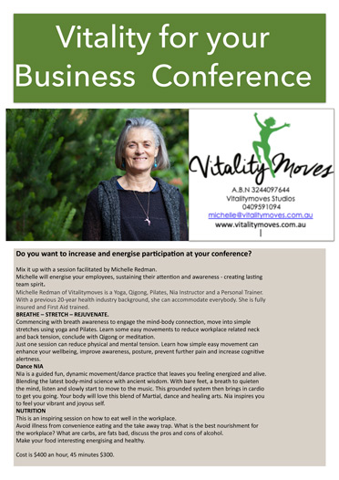 vitality for your business conference