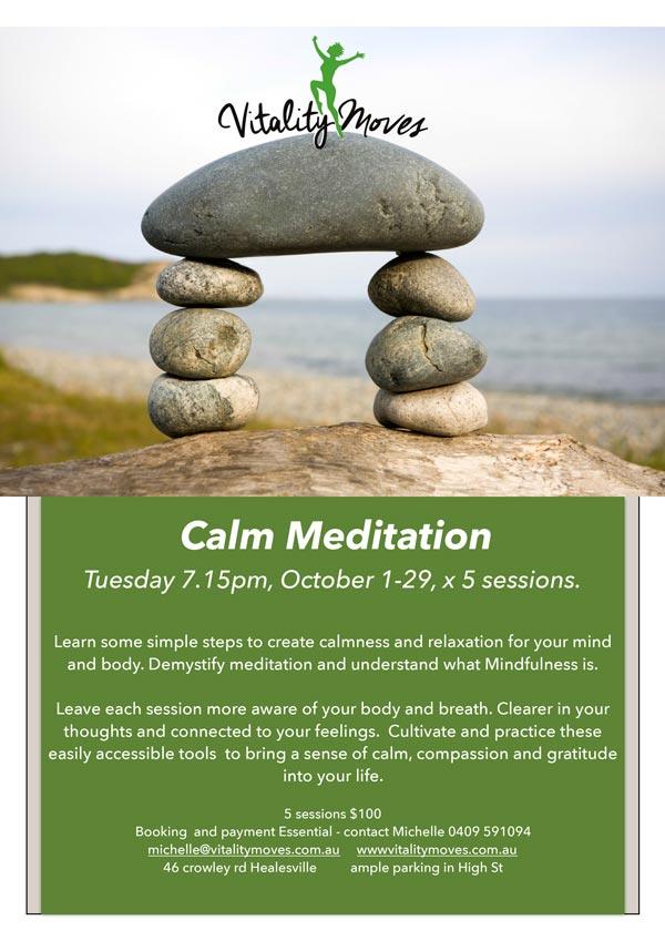 calm meditation and mindfulness workshop