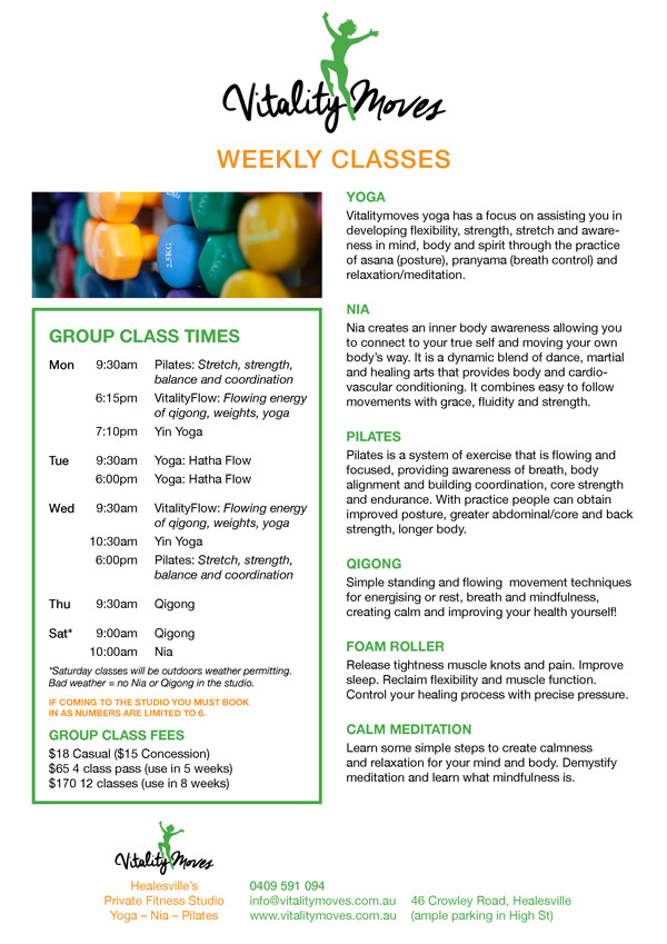 vitalitymoves weekly class schedule